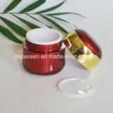 Vermelho ajustado do luxo novo/frasco de creme acrílico do ouro para os cosméticos (PPC-NEW-107)