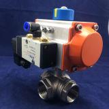 Edelstahl-Gewinde-Enden-pneumatisches 3 Möglichkeits-Kugelventil mit Stellzylinder