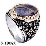 도금되는 925의 은 자연적인 돌 남자 반지 2 색깔