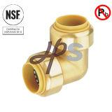 Couplage en bonne santé de coude de Fnpt Wallplate de poussée en laiton sans plomb de NSF