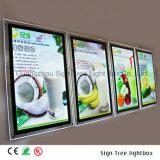 Cadre en cristal d'éclairage LED de menu acrylique mince de Frameless de qualité
