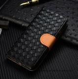 Gesponnener Muster PU-lederner Kasten-Kippen-Standplatz-Kasten für iPhone