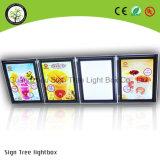 Alta calidad sin marco delgado de acrílico menú Caja de luz LED de cristal