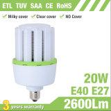 luz de bulbo de aluminio del maíz de la aleta LED de 20W E27 E40 con la cubierta lechosa