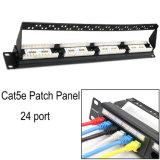 Wallmount 24 Port Cat5e Keystone Patch Panel, RJ45 Etherne Patch Panel com Patch Cord