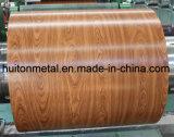 Bobine en acier enduite d'une première couche de peinture par graines en bois