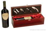 Einzelne Verriegelungs-hölzerner Rotwein-Flaschen-Geschenk-Kasten mit Hilfsmitteln