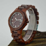 Reloj de madera del sándalo del corchete del acero inoxidable