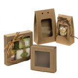 Flat medio Pack Kraft Paper Gift Box con Window Lid