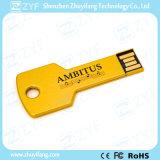 Goldmetallaluminiumschlüsselform USB-Laufwerk mit kundenspezifischem Firmenzeichen (ZYF1727)