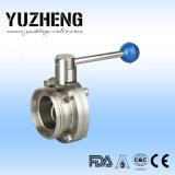 Válvula de mariposa sanitaria de Yuzheng tres pedazos del diseño