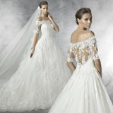 Annata un Line fuori dalla cappella Train Long Sleeve Ivory Lace Wedding Dress di The Shoulder Sheer Back