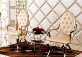 Braço luxuoso francês moderno do hotel do aço inoxidável do banquete que janta a cadeira