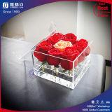 아름다운 투명한 까만 백색 아크릴 꽃 상자