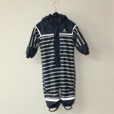 Impermeable Conjoined raya encapuchada azul/guardapolvo de la PU para los niños