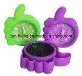 Le double à la maison multicolore Bell de décoration retentissent hors fonction à des silicones la mini horloge d'alarme de Tableau