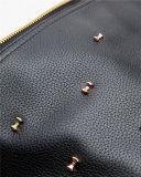 Bolsa de couro do plutônio das senhoras da forma com a ferragem brilhante na superfície