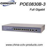 8つのPoeポートの完全なギガビットCCTVのカメラのネットワークスイッチ(POE0830B-3)