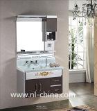 Hölzernes Korn-Muster-keramischer Bassin-Edelstahl-Badezimmer-Eitelkeits-Schrank