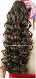 Grampo de cabelo humano cheio na extensão frouxa do Ponytail da onda da cor natural