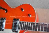 Guitare électrique de musique de Hanhai/jazz orange Semi-Creux (G6120S)
