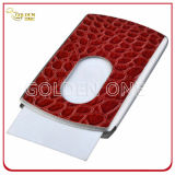 Caja de tarjeta del nombre comercial del cuero del color de rosa de la cubierta del acero inoxidable
