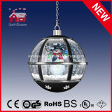 Natale Gifts Black Round Snow Globe Hanging Lamp con il LED