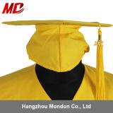 Gland adulte de robe de chapeau de graduation d'or pour des universités