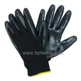 Gant de travail de jardin de sûreté de gants enduit par nitriles de polyester