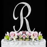 Lettera anteriore francese di cristallo a - cappello a cilindro parziale della torta di cerimonia nuziale di Diamantee del monogramma di Z