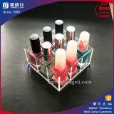 Stand acrylique à extrémité élevé de vernis à ongles d'usine avec 9 bouteilles