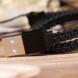 iPhone와 인조 인간을%s 8 Pin 번개 & 마이크로 USB 결합 지퍼 USB 케이블