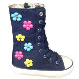 Удобные розовые девушки ткани холстины/ботинки мальчиков с цветастыми пластичными цветками