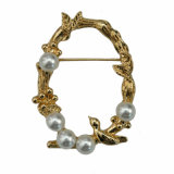 Modo Gold Plated Flower e Bird Circle Brooch per Women