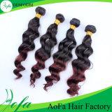 自然な波状の多彩なブラジルの毛、Ombreの波の人間の毛髪の拡張