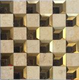 Beige Mármol Mosaico de acero inoxidable para la televisión Bachground (FYSM108)