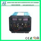 инвертор силы волны синуса 2000W 12V/24VDC 110V/220VAC чисто с заряжателем UPS (QW-PJ2000UPS)