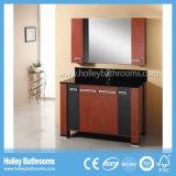 Мебель ванной комнаты твердой древесины чистой резки классицистическая с бортовым шкафом (BV181W)