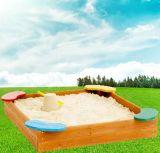 다채로운 시트를 가진 아이의 정연한 나무로 되는 모래통