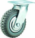 4-8 Zoll-Hochleistungsgrau PU-Fußrolle mit Schritt-Muster-Schwenker/Bremse/steifem