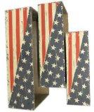 POT di fiore di legno della bandiera americana