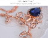 ラインストーンの水晶の葉の吊り下げ式イヤリングのネックレスの方法2 PCS一定のローズ金の宝石類