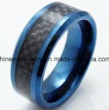Lucidarlo anello nero di legno intarsiato monili del carburo di tungsteno di placcatura