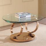 ローズの金ステンレス鋼フレームの機能回転ガラスコーヒーテーブル