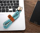 Cabo cobrando do USB do micro de couro do plutônio de 1 medidor 5V 2A para o Android
