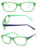 2015 buntes Großhandelsmädchen-optische Gläser mit Azetat-Rahmen und Inner-Gummibügel (Eiche