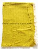 Sciarpa viscosa del jacquard dell'assegno di nuovo di stile colore della pianura con le nappe (HWBVS067)