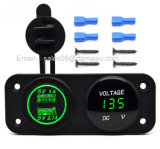 Wasserdichtes Motorrad 12~24V Auto Doppel-USB-Auto-Aufladeeinheits-Adapter + roter LED-Voltmeter