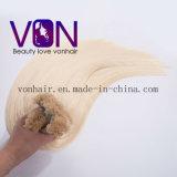 Extensões lisas do cabelo da ponta do cabelo brasileiro louro da classe da cor 7A