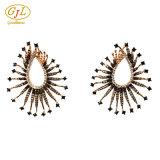 Moda joyería del oro 18k del diamante cristalino del Rhinestone de la perla del jade pendiente de clip del oído del perno prisionero de la gota de la CZ de la joyería artificial Bellas 925 pendientes de la joyería de plata esterlina